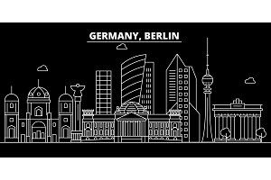 Berlin city silhouette skyline. Germany - Berlin city vector city, german linear architecture, buildings. Berlin city travel illustration, outline landmarks. Germany flat icon, german line banner