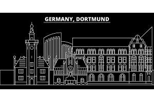 Dortmund silhouette skyline. Germany - Dortmund vector city, german linear architecture, buildings. Dortmund travel illustration, outline landmarks. Germany flat icon, german line banner