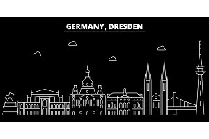Dresden silhouette skyline. Germany - Dresden vector city, german linear architecture, buildings. Dresden travel illustration, outline landmarks. Germany flat icon, german line banner