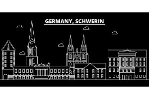 Schwerin silhouette skyline. Germany - Schwerin vector city, german linear architecture, buildings. Schwerin travel illustration, outline landmarks. Germany flat icon, german line banner