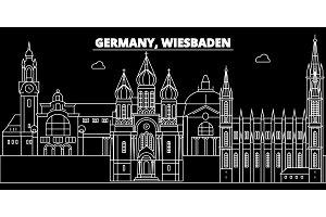 Wiesbaden silhouette skyline. Germany - Wiesbaden vector city, german linear architecture, buildings. Wiesbaden travel illustration, outline landmarks. Germany flat icon, german line banner