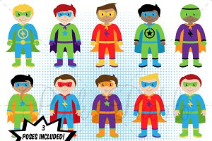 Boy Superhero Clipart & Vectors