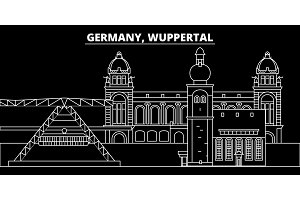 Wuppertal silhouette skyline. Germany - Wuppertal vector city, german linear architecture, buildings. Wuppertal travel illustration, outline landmarks. Germany flat icon, german line banner