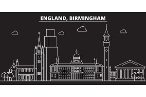 Birmingham silhouette skyline. Great Britain - Birmingham vector city, british linear architecture. Birmingham travel illustration, outline landmarks. Great Britain flat icon, british line banner