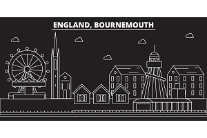 Bournemouth silhouette skyline. Great Britain - Bournemouth vector city, british linear architecture. Bournemouth travel illustration, outline landmarks. Great Britain flat icon, british line banner