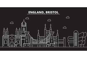 Bristol silhouette skyline. Great Britain - Bristol vector city, british linear architecture, buildings. Bristol travel illustration, outline landmarks. Great Britain flat icon, british line banner