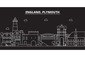 Plymouth silhouette skyline. Great Britain - Plymouth vector city, british linear architecture. Plymouth travel illustration, outline landmarks. Great Britain flat icon, british line banner
