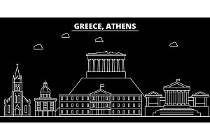 Athens silhouette skyline. Greece - Athens vector city, greek linear architecture, buildings. Athens travel illustration, outline landmarks. Greece flat icon, greek line banner