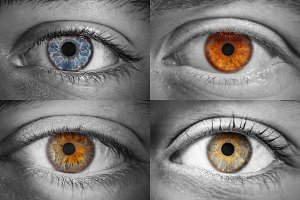 4 different colored eyes