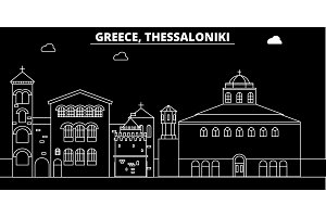 Thessaloniki silhouette skyline. Greece - Thessaloniki vector city, greek linear architecture, buildings. Thessaloniki travel illustration, outline landmarks. Greece flat icon, greek line banner