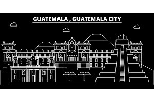 Guatemala silhouette skyline, vector city, guatemalan linear architecture, buildings. Guatemala City travel illustration, outline landmarkflat icon, guatemalan line banner