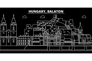 Balaton silhouette skyline. Hungary - Balaton vector city, hungarian linear architecture, buildings. Balaton travel illustration, outline landmarks. Hungary flat icon, hungarian line banner