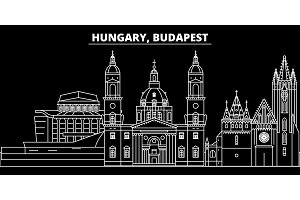Budapest city silhouette skyline. Hungary - Budapest city vector city, hungarian linear architecture. Budapest city travel illustration, outline landmarks. Hungary flat icon, hungarian line banner