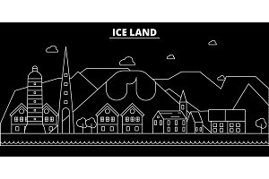 Iceland silhouette skyline, vector city, linear architecture, buildingtravel illustration, outline landmarks. Iceland flat icon, Icelandic line banner