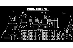 Chennai silhouette skyline. India - Chennai vector city, indian linear architecture, buildings. Chennai travel illustration, outline landmarks. India flat icon, indian line banner