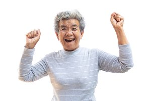 Happy Asian old woman