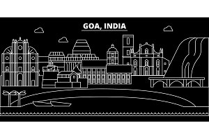 Goa silhouette skyline. India - Goa vector city, indian linear architecture, buildings. Goa travel illustration, outline landmarks. India flat icon, indian line banner