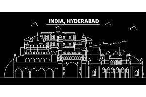 Hyderabad silhouette skyline. India - Hyderabad vector city, indian linear architecture, buildings. Hyderabad travel illustration, outline landmarks. India flat icon, indian line banner