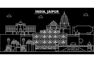 Jaipur silhouette skyline. India - Jaipur vector city, indian linear architecture, buildings. Jaipur travel illustration, outline landmarks. India flat icon, indian line banner