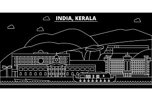 Kerala silhouette skyline. India - Kerala vector city, indian linear architecture, buildings. Kerala travel illustration, outline landmarks. India flat icon, indian line banner