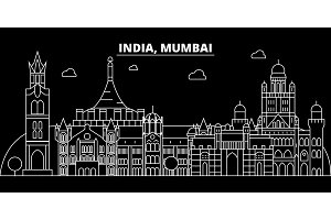 Mumbai silhouette skyline. India - Mumbai vector city, indian linear architecture, buildings. Mumbai travel illustration, outline landmarks. India flat icon, indian line banner