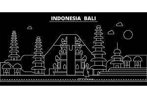 Bali silhouette skyline. Indonesia - Bali vector city, indonesian linear architecture, buildings. Bali travel illustration, outline landmarks. Indonesia flat icon, indonesian line banner