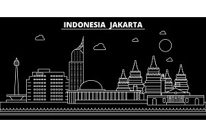 Jakarta silhouette skyline. Indonesia - Jakarta vector city, indonesian linear architecture, buildings. Jakarta travel illustration, outline landmarks. Indonesia flat icon, indonesian line banner