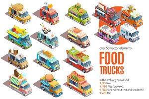 Sale! Big Isometric Food Trucks Set