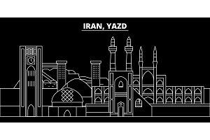 Yazd silhouette skyline. Iran - Yazd vector city, iranian linear architecture, buildings. Yazd travel illustration, outline landmarks. Iran flat icon, iranian line design banner