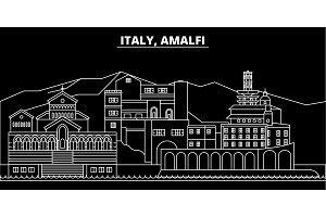 Amalfi silhouette skyline. Italy - Amalfi vector city, italian linear architecture, buildings. Amalfi travel illustration, outline landmarks. Italy flat icon, italian line banner