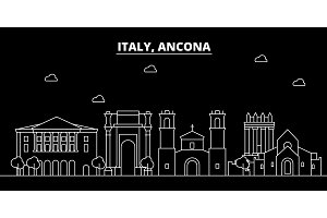 Ancona silhouette skyline. Italy - Ancona vector city, italian linear architecture, buildings. Ancona travel illustration, outline landmarks. Italy flat icon, italian line banner