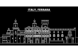 Ferrara silhouette skyline. Italy - Ferrara vector city, italian linear architecture, buildings. Ferrara travel illustration, outline landmarks. Italy flat icon, italian line banner