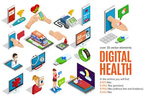 Sale! Isometric Digital Health Set