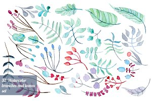 32 Watercolor branches set