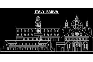Padua silhouette skyline. Italy - Padua vector city, italian linear architecture, buildings. Padua travel illustration, outline landmarks. Italy flat icon, italian line banner