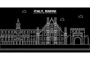 Rimini silhouette skyline. Italy - Rimini vector city, italian linear architecture, buildings. Rimini travel illustration, outline landmarks. Italy flat icon, italian line banner