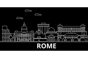 Rome silhouette skyline. Italy - Rome vector city, italian linear architecture, buildings. Rome travel illustration, outline landmarks. Italy flat icon, italian line banner