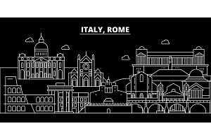 Rome city silhouette skyline. Italy - Rome city vector city, italian linear architecture, buildings. Rome city travel illustration, outline landmarks. Italy flat icon, italian line banner