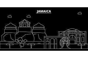 Jamaica silhouette skyline, vector city, jamaican linear architecture, buildings. Jamaica travel illustration, outline landmarkflat icon, jamaican line banner