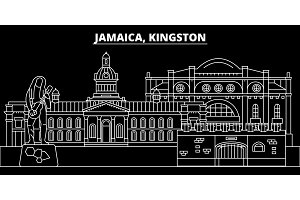 Kingston silhouette skyline. Jamaica - Kingston vector city, jamaican linear architecture, buildings. Kingston travel illustration, outline landmarks. Jamaica flat icon, jamaican line banner