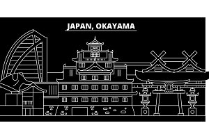 Okayama silhouette skyline. Japan - Okayama vector city, japanese linear architecture, buildings. Okayama travel illustration, outline landmarks. Japan flat icon, japanese line banner