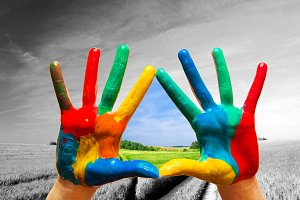 Painted hands & way to colorful life