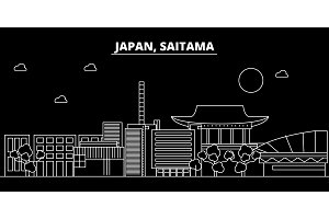 Saitama silhouette skyline. Japan - Saitama vector city, japanese linear architecture, buildings. Saitama travel illustration, outline landmarks. Japan flat icon, japanese line banner