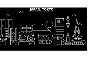 Tokyo city silhouette skyline. Japan - Tokyo city vector city, japanese linear architecture, buildings. Tokyo city travel illustration, outline landmarks. Japan flat icon, japanese line banner