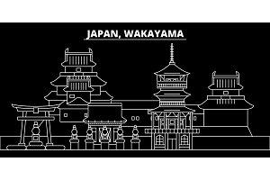Wakayama silhouette skyline. Japan - Wakayama vector city, japanese linear architecture, buildings. Wakayama travel illustration, outline landmarks. Japan flat icon, japanese line design banner