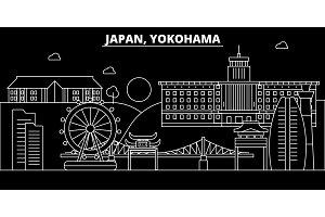 Yokohama silhouette skyline. Japan - Yokohama vector city, japanese linear architecture, buildings. Yokohama travel illustration, outline landmarks. Japan flat icon, japanese line banner
