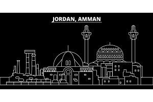 Amman silhouette skyline. Jordan - Amman vector city, jordian linear architecture, buildings. Amman travel illustration, outline landmarks. Jordan flat icon, jordian line banner
