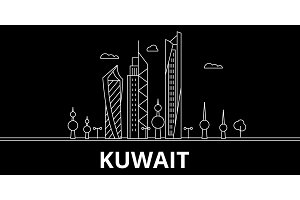 Kuwait silhouette skyline, vector city, kuwaiti linear architecture, buildings. Kuwait line travel illustration, landmarkflat icon, kuwaiti outline design banner
