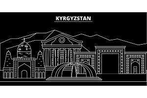 Kyrgyzstan silhouette skyline, vector city, kyrgyz linear architecture, buildings. Kyrgyzstan travel illustration, outline landmarkflat icon, kyrgyz line banner
