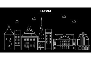 Latvia silhouette skyline, vector city, latvian linear architecture, buildings. Latvia travel illustration, outline landmarkflat icon, latvian line banner